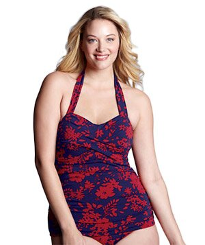 f6233369f6 Land s End Plus Size Floral Beach Halter One Piece Floral Swimsuit