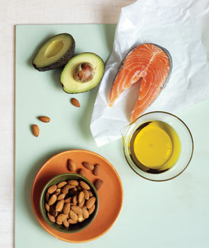 Avocado, salmon, and almonds