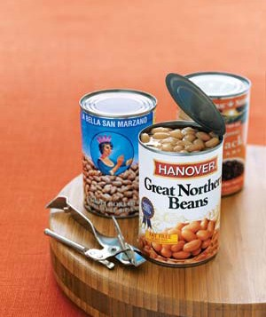 Cans of beans with can opener