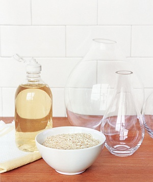 Decanters and a bowl of uncooked rice
