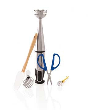 An immersion blender, a rubber spatula, and more kitchen supplies