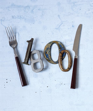 Knife and fork surround number 1800