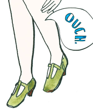 An illustration of a woman with a muscle cramp