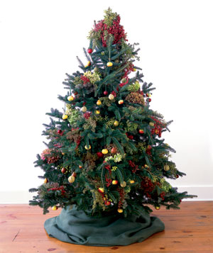 The Real Simple tree with berries and ornaments