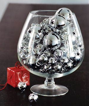 Brandy snifter filled with silver bells