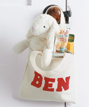Personalized tote filled with gifts