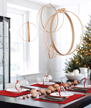 Wooden quilting hoops hung as a mobile