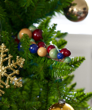 Colorful baubles and gold ornaments