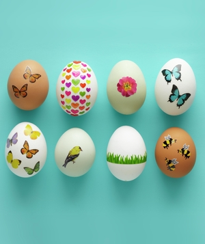 Easter eggs decorated with decals