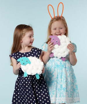 Girls with cotton ball sheep