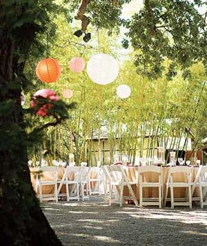Outdoor reception with Chinese lanterns