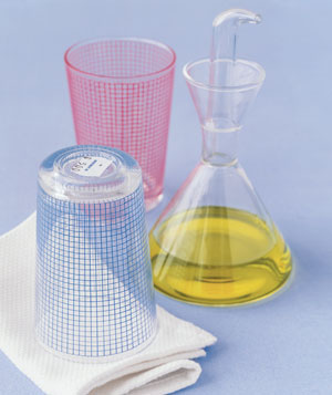Cooking oil and glasses