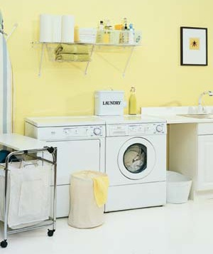 Washer and dryer in a laundry room