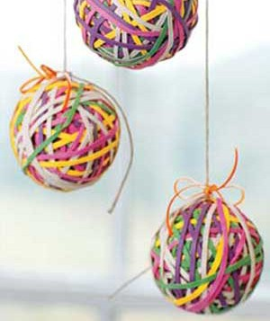Colored rubber band holiday ornaments