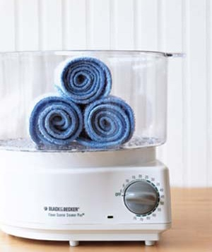Towels steamed in a rice cooker