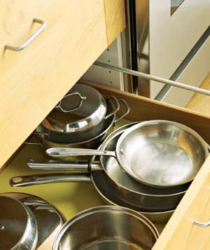 Drawer of pots and pans