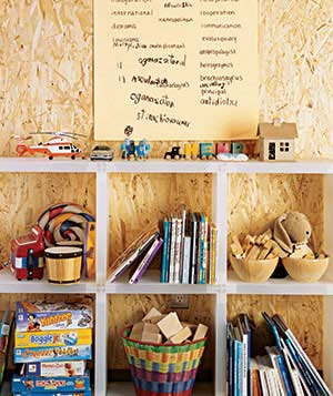Toys and books stored in cubbies