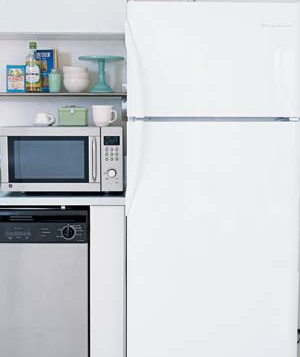 Microwave and refrigerator in the kitchen