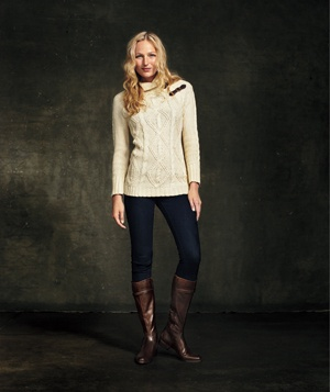 Model with knit sweater