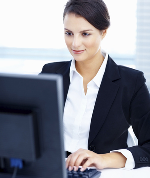 Woman on work computer