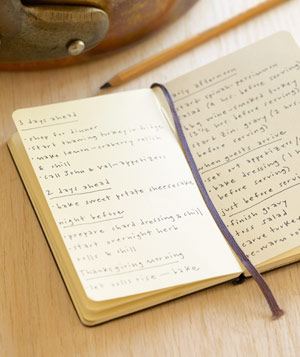 Notebook filled with lists