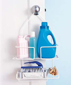 Shower caddy stocked with laundry products