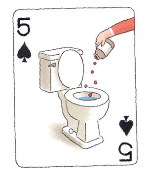 Illustration of a playing card with a woman pouring her pills down a toilet