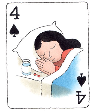 Illustration of a playing card with a woman sleeping