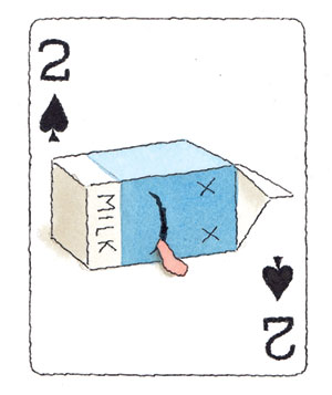 Illustration of a playing card with spoiled milk