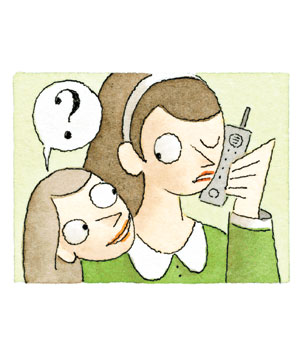 A woman intruding in on a phone conversation