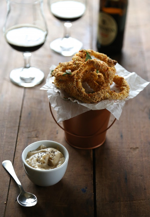 Oven Fried Guinness Onion Rings With Stout Gravy