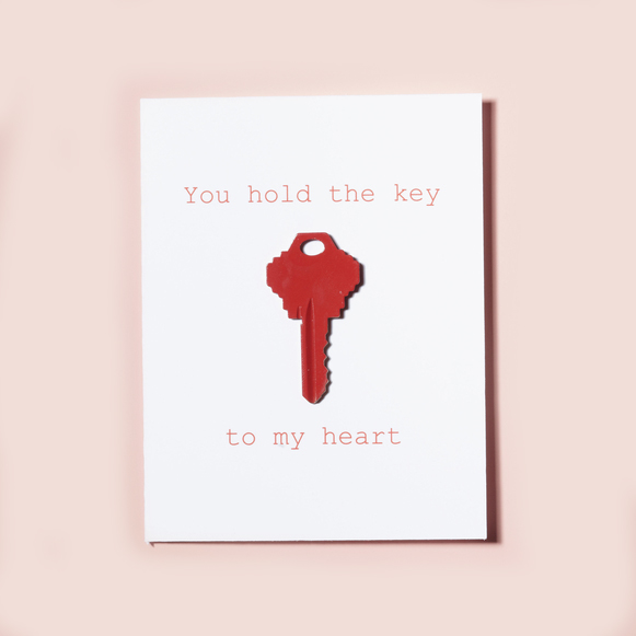 Valentine's Day Card  You hold the key to my heart  with red key