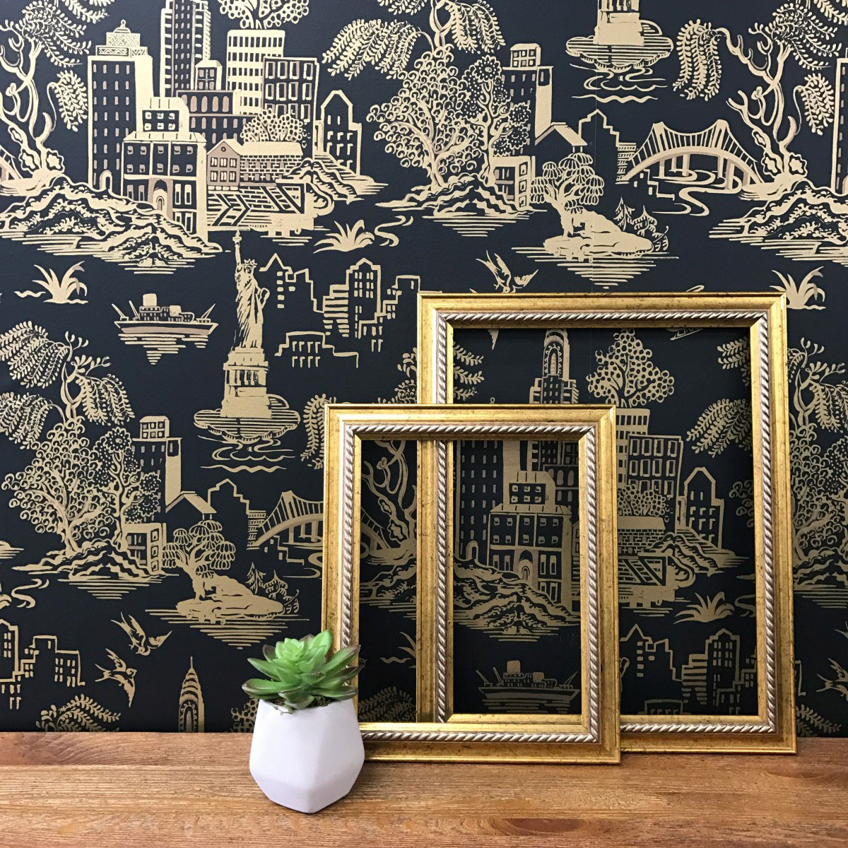 Wallpaper for Walls Tempaper New York Toile in Black & Metallic Gold