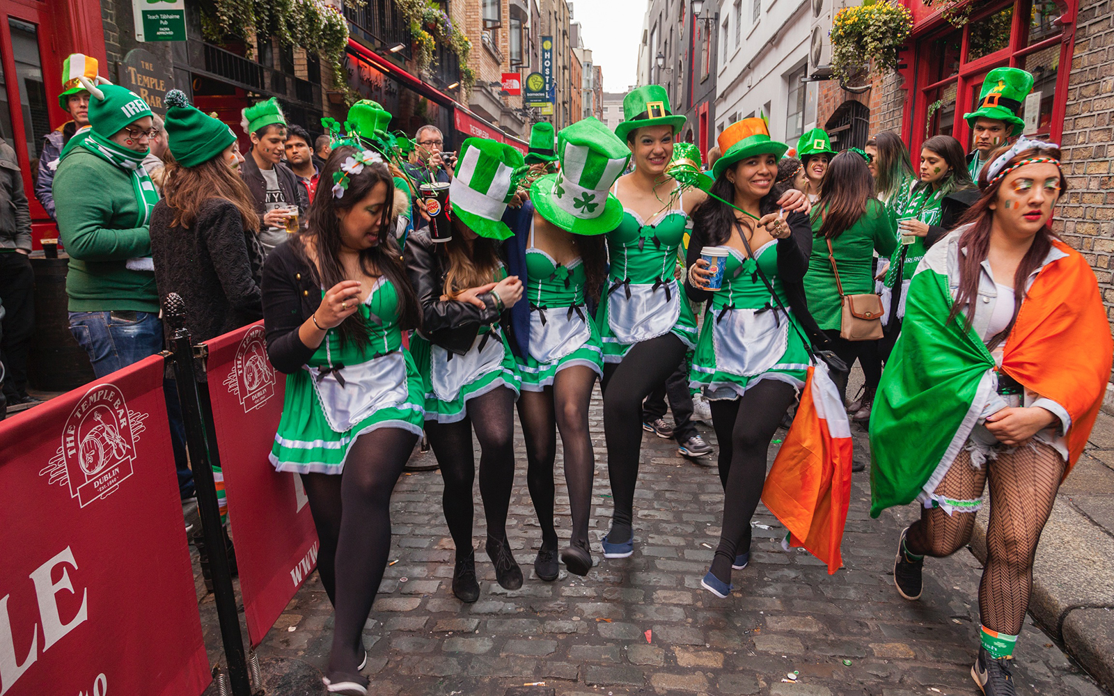 Five Brazilian girls dancing at Temple Bar after the parade in Dublin, Ireland.