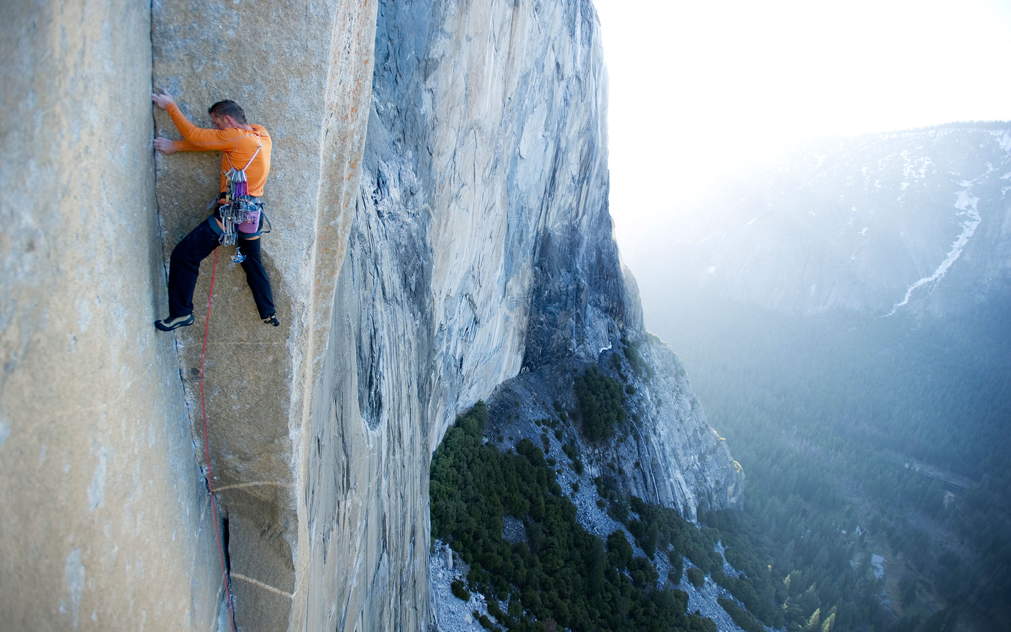 A man attempts a dihedral pitch on El Cap in Yosemite National Park, California.