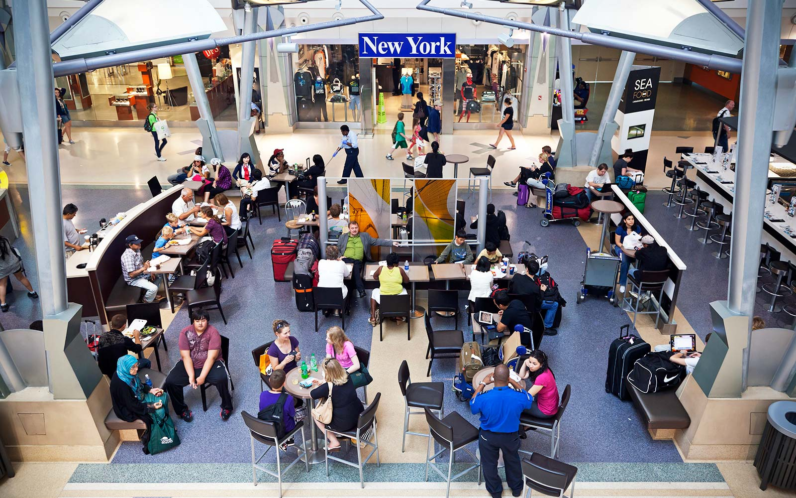 JFK Airport's Central Plaza food court dining New York City