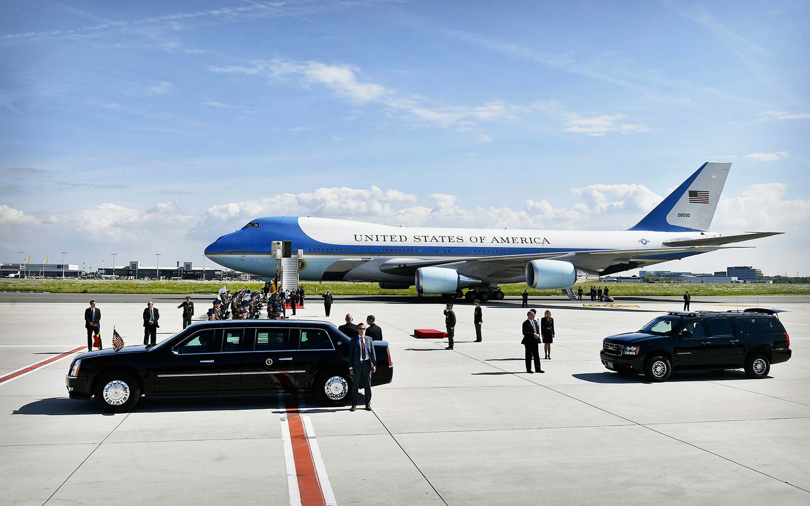 Air Force One plane US President Donald Trump and First Lady Melania Trump