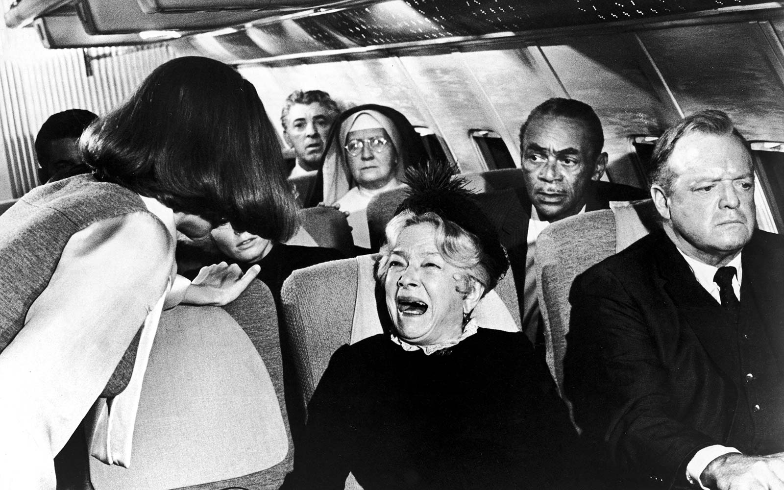 Cry hysterical tears airplane flight