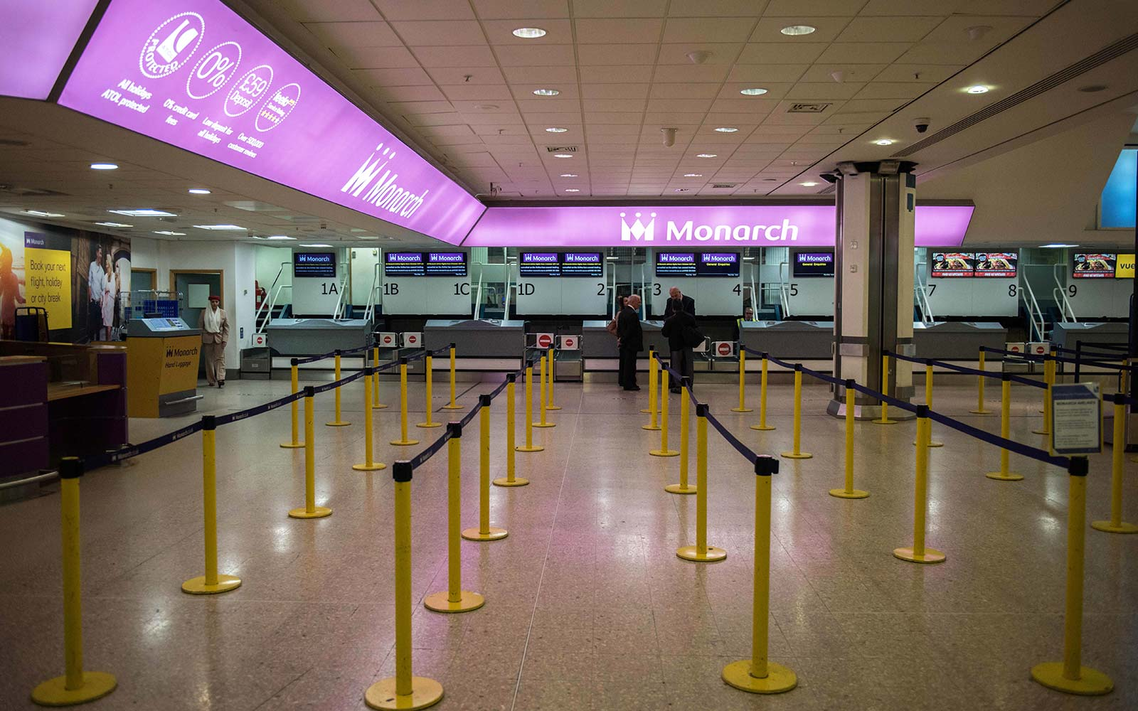 Monarch Airlines airport empty check-in financial trouble
