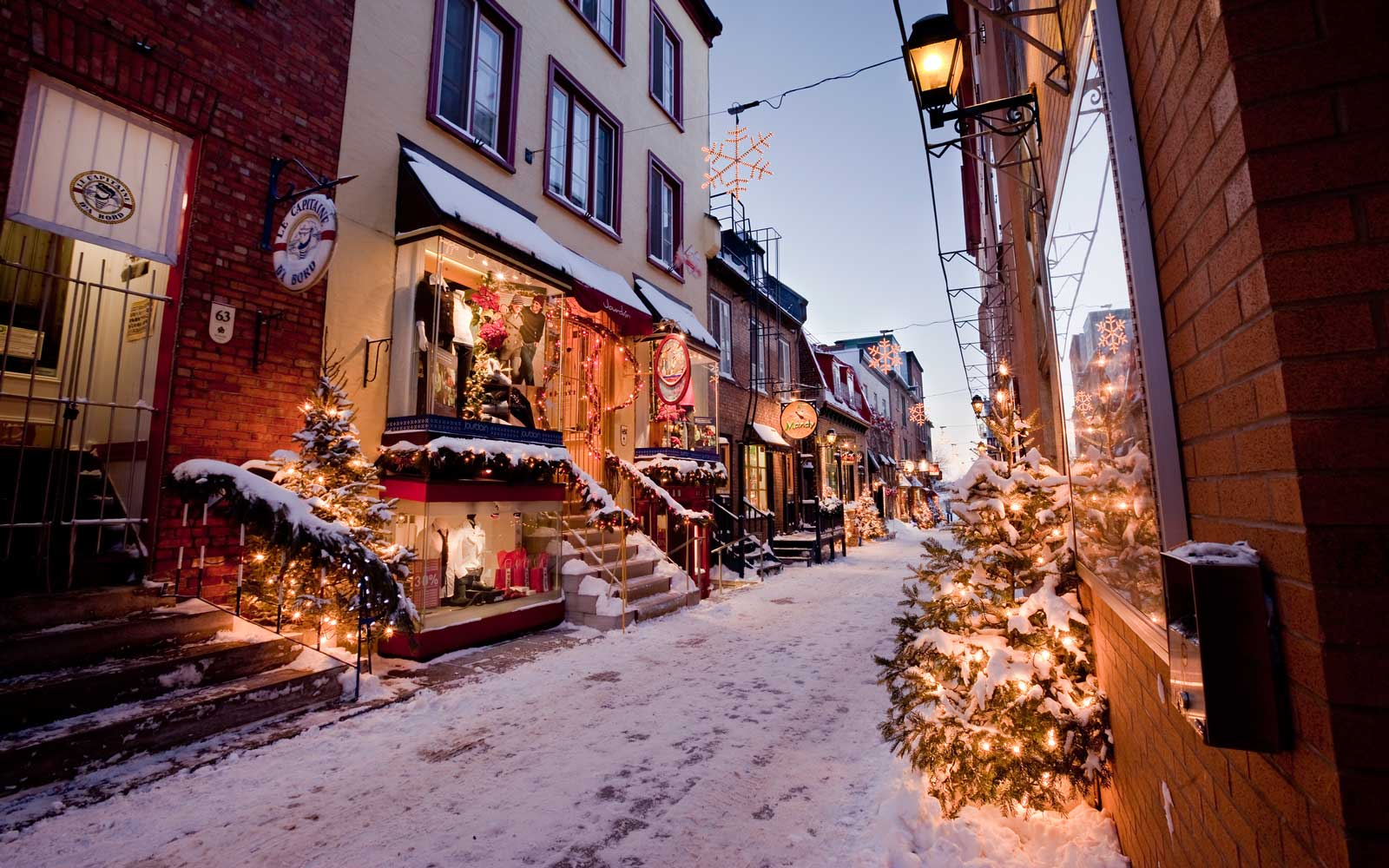 Rue du Petit-Champlain in the Quartier Petit Champlain - the heart of New France, decorated festively for the Christmas holidays in the historic old City of Quebec