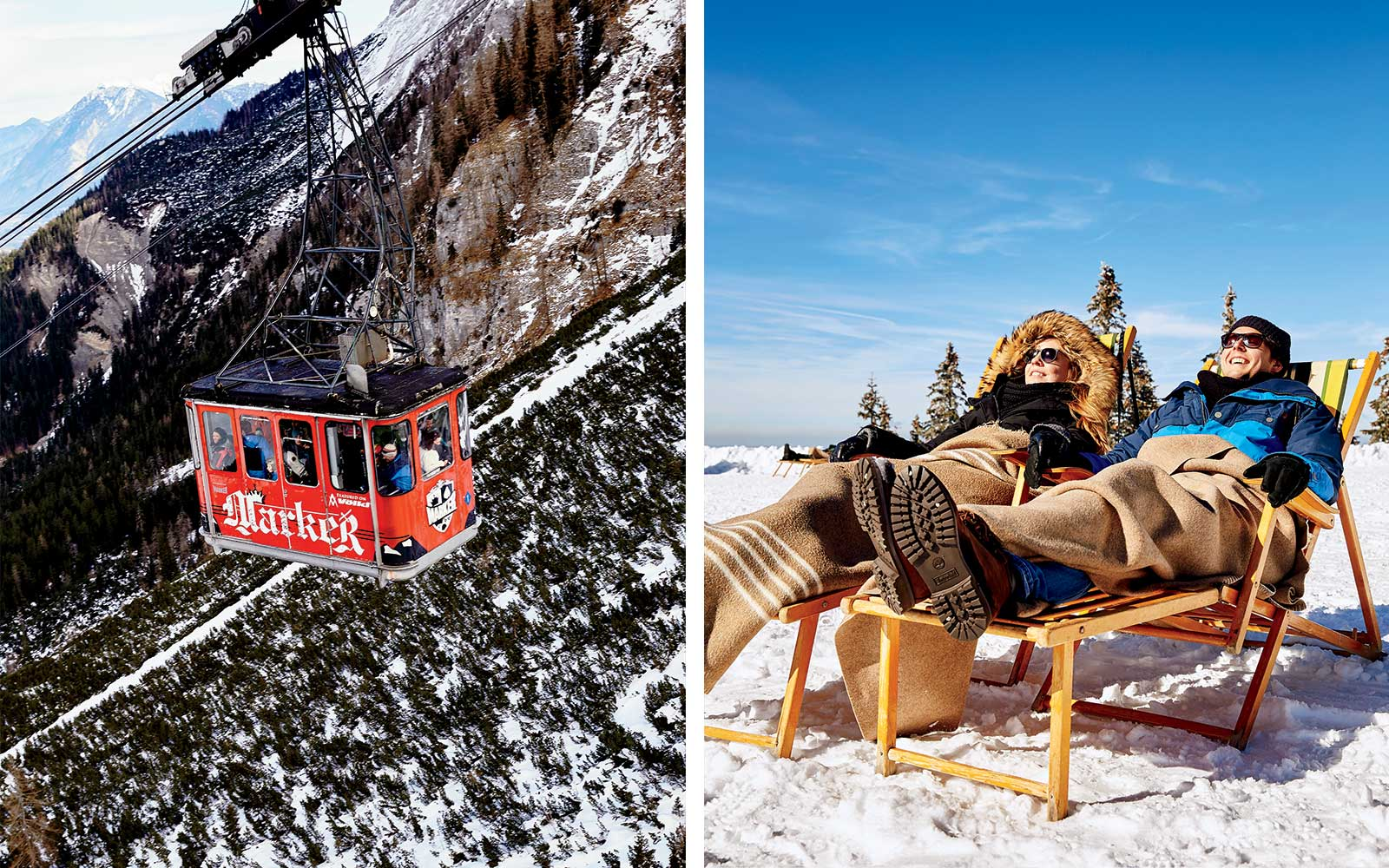 Gondola and sledders in Bavaria, Germany.