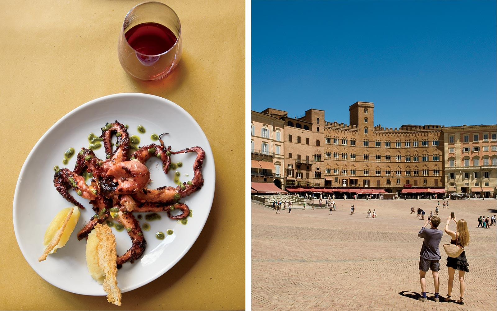 Grilled octopus from Babazuf restaurant, and the piazza of Siena, Italy
