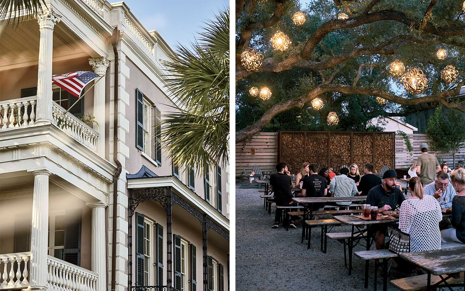 Classic architectural detail in Charleston, SC; the patio at Lewis BBQ restaurant