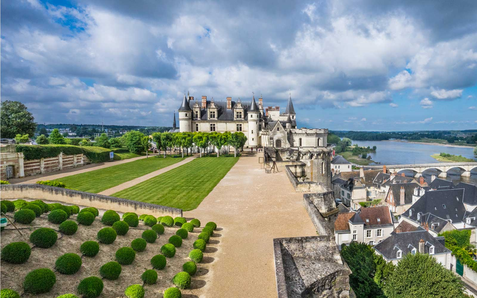 Royal Castle Château d'Amboise, view of the Royal residence from the Naples Terrace Renaissance garden