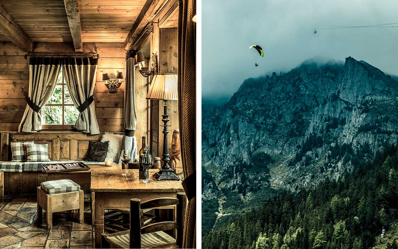The Ferme de Marie hotel, in Megeve, France; view of a paraglider from Chamonix.