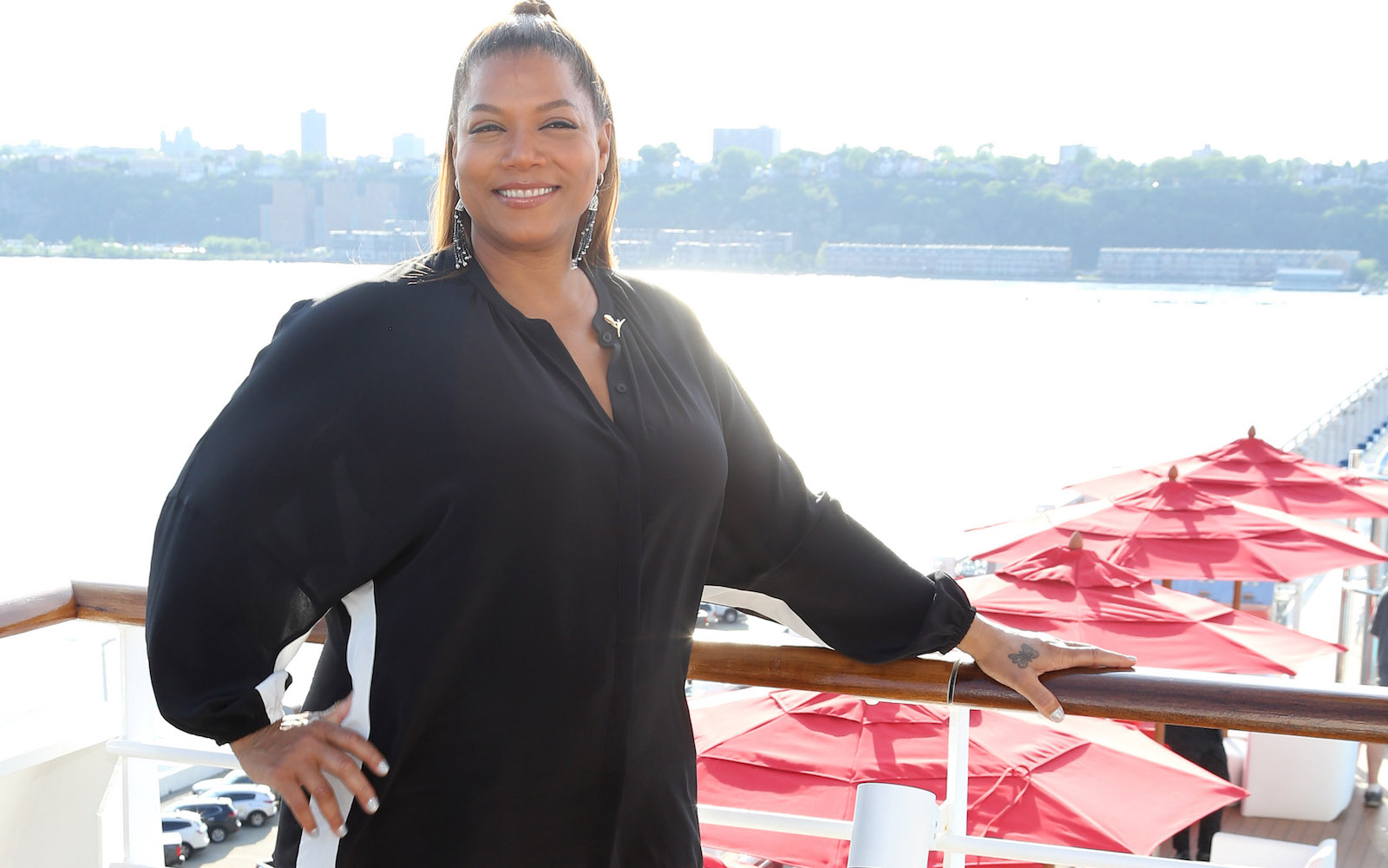 Queen Latifah on board the new Carnival Horizon cruise ship