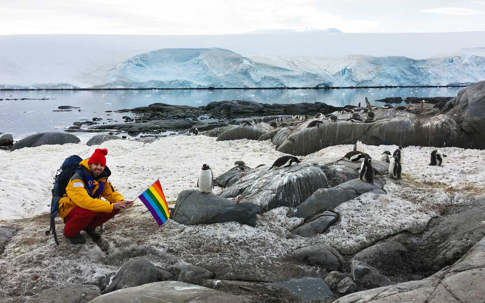 Pride with penguins in Antarctica