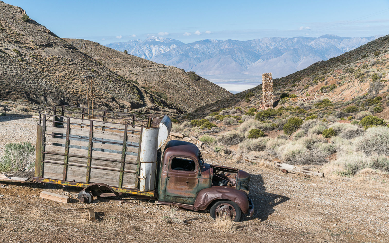A historic mining truck used to transfer silver from Cerro Gordo, California.
