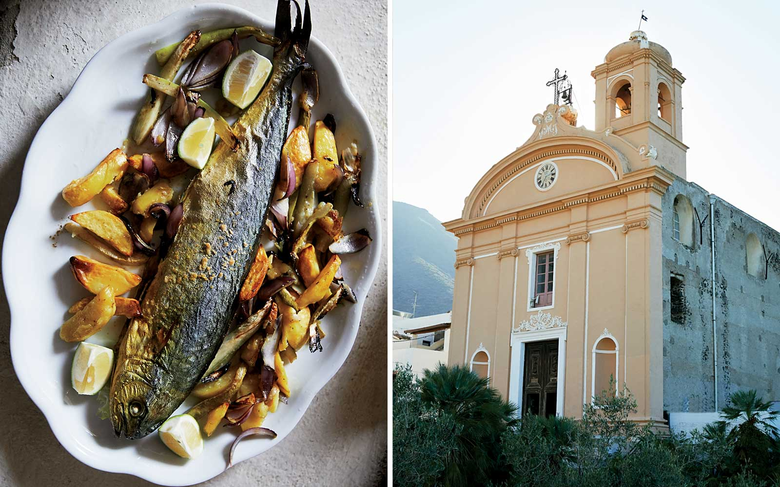 Grilled fish and a Salina church, in Italy's Aeolian Islands