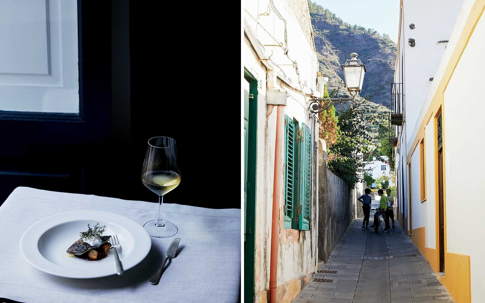 Signum Restaurant and the streets of Salina, in Italy's Aeolian Islands